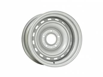 WHEEL, 16 Slot Rally, 15 inch O.D. X 8 inch width, 5 X 5 inch bolt circle, 4 inch back spacing, metallic silver finish, US-made repro