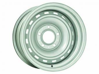 WHEEL, 16 Slot Rally, 15 inch O.D. X 10 inch width, 5 X 5 inch bolt circle, 4 1/2 inch back spacing, metallic silver finish, US-made repro