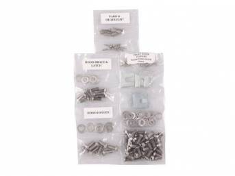 FASTENER KIT, Front Sheetmetal, polished stainless finish, features button head allen bolts, (147) incl fasteners for fenders, headlight and parking light, hood hinges, hood brace and latch, radiator cover and cowl