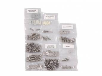 FASTENER KIT, Front Sheetmetal, polished stainless steel, features button head allen bolts, (222) incl fasteners for fenders, cowl panel, headlight bezel, battery clamp, hood hinges, hood latch and radiator core support