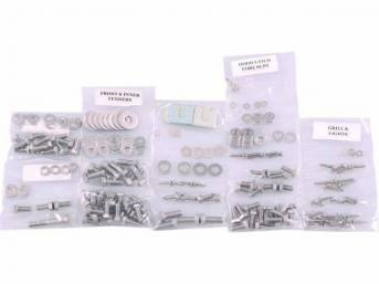 FASTENER KIT, Front Sheetmetal, polished stainless steel, features