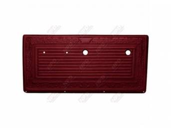 PANEL SET, Front Door, horizontal pleat center surrounded by scroll style, OE red, ABS-plastic, replacement style repro