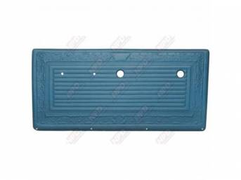 PANEL SET, Front Door, horizontal pleat center surrounded by scroll style, OE blue, ABS-plastic, replacement style repro
