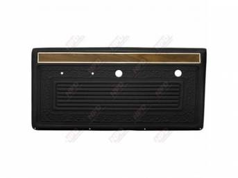 PANEL SET, Front Door, horizontal pleat center surrounded by scroll style w/ woodgrain strip and mylar trim on top, black, ABS-plastic, replacement style repro
