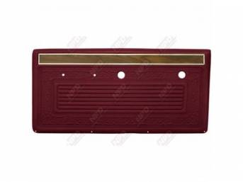 PANEL SET, Front Door, horizontal pleat center surrounded by scroll style w/ woodgrain strip and mylar trim on top, OE red, ABS-plastic, replacement style repro