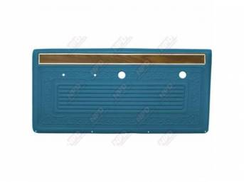 PANEL SET, Front Door, horizontal pleat center surrounded by scroll style w/ woodgrain strip and mylar trim on top, OE blue, ABS-plastic, replacement style repro