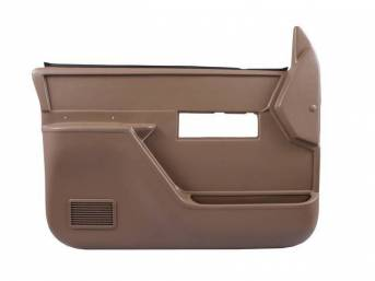 PANEL SET, REPLACEMENT STYLE, SADDLE TAN, FRONT DOORS, ABS PLASTIC, W/ POWER LOCKS AND POWER WINDOWS, INCL PADDED ARM REST AND INSTRUCTIONS, W/O INSERTS