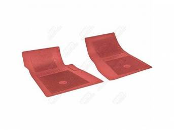 FLOOR MATS, RUBBER, OE STYLE BOW TIE, RED, (2) PICKUP, DIE CUT TO FIT ORIGINAL FLOOR PAN CONTOURS, INCL EMBOSSED BOW TIE LOGO AND OE STYLE CARPET GRIPS, REPRO