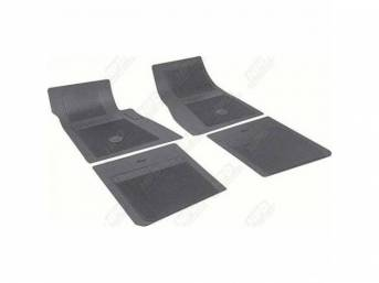 FLOOR MATS, Rubber, OE Style Bow Tie, Black, (4) Die Cut To Fit Original Floorpan Contours, Incl Embossed Bow Tie Logo and OE Style Carpet Grips, OER repro