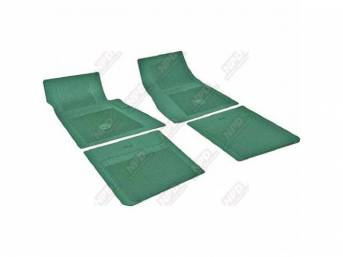 FLOOR MATS, RUBBER, OE STYLE BOW TIE, DARK GREEN, (4), DIE CUT TO FIT ORIGINAL FLOOR PAN CONTOURS, INCL EMBOSSED BOW TIE LOGO AND OE STYLE CARPET GRIPS, REPRO