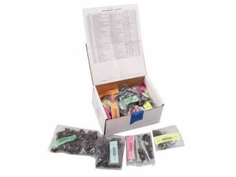 HARDWARE KIT, Master Body, correct fasteners to assemble vehicle sheetmetal in one kit at a discount over purchasing individual smaller kits, (508) incl OE style fasteners w/ correct color and markings