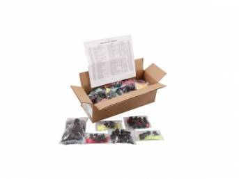 HARDWARE KIT, Master Body, correct fasteners to assemble vehicle sheetmetal in one kit at a discount over purchasing individual smaller kits, (364) incl OE style fasteners w/ correct color and markings