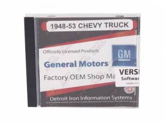 SHOP MANUAL ON CD, 1948-1953 Chevrolet Truck, Incl 1948-1953 Chevy Truck shop manual, 1938-1968 and 1949-1958 Chevrolet parts manuals