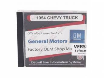 SHOP MANUAL ON CD, 1954 Chevrolet Truck, Incl 1954 Chevy Truck shop manual, 1947-1955 assembly manual, 1938-1968 and 1949-1958 Chevrolet parts manuals