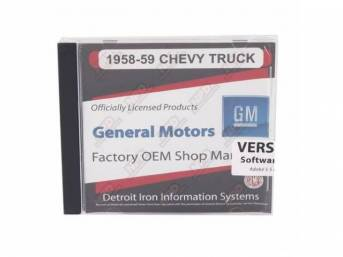 SHOP MANUAL ON CD, 1958-59 Chevrolet Truck, Incl 1958 Chevy Truck shop manual (w/ 1956 supplement), 1938-68, 1954-65 and 1949-58 Chevrolet parts manuals