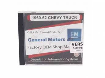 SHOP MANUAL ON CD, 1960-1962 Chevrolet Truck, Incl 1960 Chevy Truck shop manual (w/ 1961-1962 supplements), 1938-1968 and 1954-1965 Chevrolet parts manuals