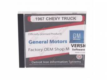 SHOP MANUAL ON CD, 1967 Chevrolet Truck, Incl 1967 Chevy Truck chassis manual, 1967 Chevy Truck overhaul manual and 1938-1968 Chevrolet parts manual