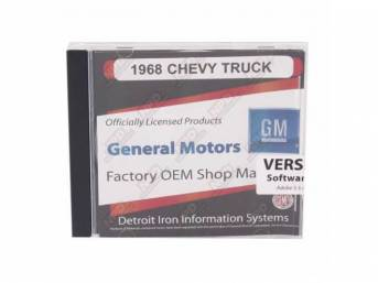 SHOP MANUAL ON CD, 1968 Chevrolet Truck, Incl 1968 Chevy Truck chassis manual, 1968 Chevy Truck overhaul manual and 1938-1968 Chevrolet parts manual
