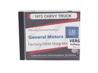 SHOP MANUAL ON CD, 1972 Chevrolet Truck, Incl 1972 Chevy Truck chassis service and overhaul service manuals