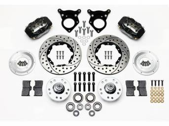 1987-93 WILWOOD Forged Dynalite Pro Series Front Brake Kit 4 Piston (Black Calipers) Drilled & Slotted Rotors