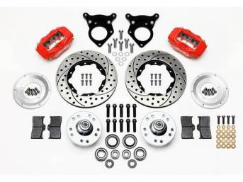 1987-93 WILWOOD Forged Dynalite Pro Series Front Brake Kit 4 Piston (Red Calipers) Drilled & Slotted Rotors