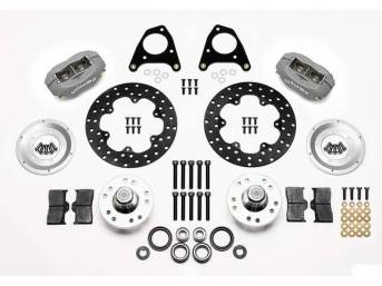 1987-93 Wilwood Forged Dynalite Front Drag Brake Kit 4 Piston (Gary Anodized) Drilled Rotors