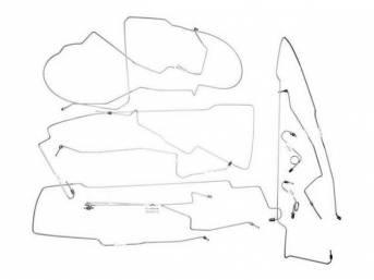 Brake Line Set, Deluxe, Stainless Steel, Repro