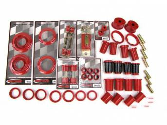 Total Kit, Prothane, Red, Does Not Include Sway Bar Bushings, These Kits Are Made Of A Durable Urethane Construction, They Are Designed To Work With Factory Components And Hardware, They Drastically Improve Handling And Steering Response