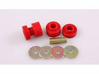 Bushing Set, Irs Differential, Front, Red, Prothane, Incl Bushings, Washers, Sleeve Inserts, Does Both Side
