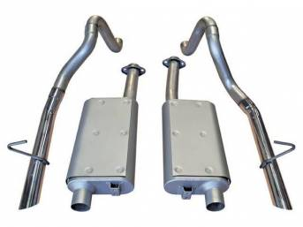 Exhaust Kit, Cat Back, Flowmaster, 16 Gauge 2 1/2 Inch Aluminized Tubing, Incl Inlet And Outlet Pipes And 50 Series Delta Flow Mufflers, All Mounting Hardware
