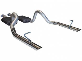 Exhaust Kit, Cat Back, Flowmaster, 16 Gauge 2 1/2 Inch Aluminized Tubing, Incl Inlet And Outlet Pipes And Super 44 Series Delta Flow Mufflers, All Mounting Hardware
