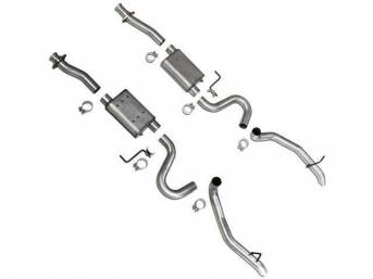 Exhaust Kit, Cat Back, Bbk Performance, Varitune Style, 2 3/4 Inch Pipes, Incl All Aluminized Inlet Adn Outlet Pipes And Bbk Adjustable Mufflers, 2 3/4 Inch Turn Down Style Aluminized Tips