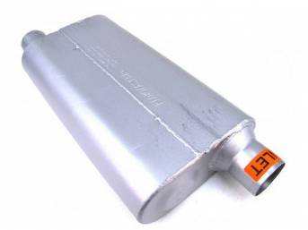 Muffler, Flowmaster, Delta Flow 50 Series, Aluminized Offset Design, W/ 2 1/2 Inch Inlet And Outlet, Designed For Moderate Tone Levels