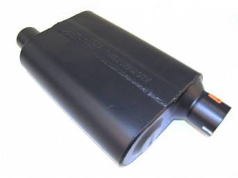 Muffler, Flowmaster, Super 44 Series, Aluminized Offset Design, W/ 2 1/2 Inch Inlet And Outlet, Designed For Aggressive Tone Levels