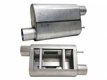 Muffler, Bbk Performance, Vari Tune, Aluminized, Offset Design, W/ 2 1/2 Inch Inlet And Outlet, Fully Adjustable Sound And Flow