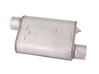 Muffler, Bbk Performance, Vari Tune, Aluminized, Offset Design, W/ 3 Inch Inlet And Outlet, Fully Adjustable Sound And Flow
