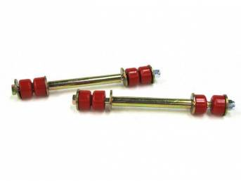 End Link Kit, Front Sway Bar, Prothane, Red, Incl Bushings, Washers And Nuts