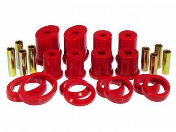 Bushing Kit, Rear Upper And Lower Control Arm, Urethane, Red, Incl Oval Front And Round Rear Bushings, Does Not Incl Shells (Re-Use Originals), Repro