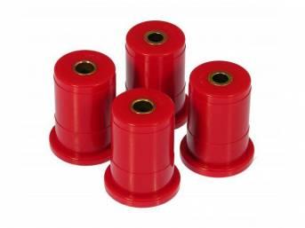 Bushing Set, Rear Subframe, Prothane, Red, Incl Inner Bushing Crush Sleeve Inserts, These Are Performance Urethane Bushings