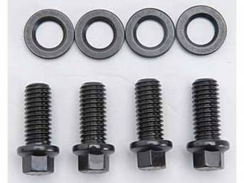 Mounting Kit, Motor Mount To Block, Arp Racing, Black Oxide Finish, Chrome Moly Steel,  Incl (4) Hex Head Style Bolts, (4) High Quality Flat Washers, 170,000 Psi Strength, Designed To Work With Stock Or Aftermarket Motor Mounts