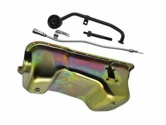 Conversion Kit, 351w Oil Pan, Zinc Finish, Steel,