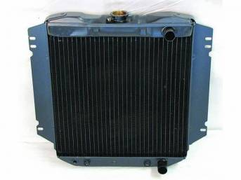 Radiator, Oe Style, Down Flow, Black Finish, Copper / Brass Construction, 16 1/2 Inch X 17 1/4 Inch X 1 1/4 Inch, 2 Row, Inlet 1 1/4 Inch Rh, Outlet 1 1/4 Inch Rh, Side Mount, W/ 8 Inch Trans Cooler, Repro