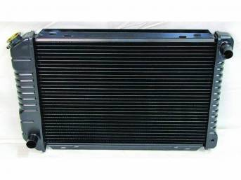 Radiator, Oe Style, Cross Flow, Black Finish, Copper / Brass Construction, 24 1/2 Inch X 17 3/4 Inch X 1 1/4 Inch, 2 Row, Inlet 1 1/4 Inch Rh, Outlet 1 1/2 Inch Lh, Saddle Mount, Repro