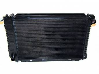 Radiator, Oe Style, Cross Flow, Black Finish, Copper / Brass Construction, 24 1/2 Inch X 17 3/4 Inch X 2 Inch, 3 Row, Inlet 1 1/4 Inch Rh, Outlet 1 1/2 Inch Lh, Saddle Mount, Repro