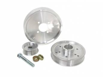 Pulley Kit, Bbk Performance Underdrive, Polished Aluminum, (3) Piece Set, Incl Water Pump Pulley, Crank Pulley, Alternator Pulley, Designed To Work W/ Stock Damper Assemblies, Repro