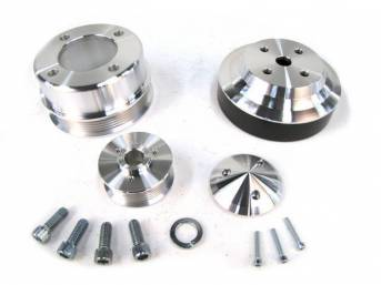 Pulley Kit, March Performance Underdrive, Billet Aluminum, Clear
