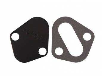 Block Off Plate, Fuel Pump, Moroso, Black Anodized Aluminum, Designed To Block Off Fuel Pump Mounting Boss When Mechanical Fuel Pump Is Not Used