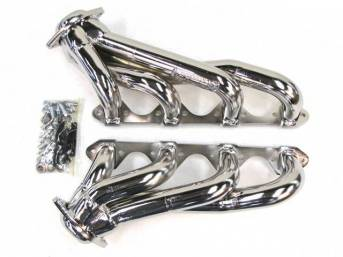 Headers, Unequal Length Shorty, Bbk Performance, Chrome Plated Finish, Made From 1 5/8 Inch Cnc Mandrel Bent Tubing, Incl One Piece Laser Cut Mounting Flanges
