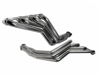 Headers, Full Length Long Tube, Bbk Performance, Chrome Plated Finish, Made From 1 5/8 Inch Cnc Mandrel Bent Tubing, Incl One Piece Laser Cut Mounting Flanges