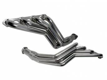 Headers, Full Length Long Tube, Bbk Performance, Chrome Plated Finish, Made From 1 3/4 Inch Cnc Mandrel Bent Tubing, Incl One Piece Laser Cut Mounting Flanges